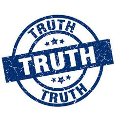 Truth blue round grunge stamp vector