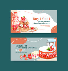twitter template with strawberry baking design vector image