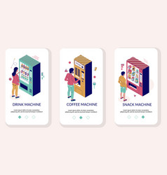 vending machine mobile app onboarding screens vector image