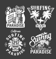 vintage surf monochrome emblems vector image
