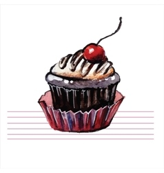 Watercolor cupcakes Hand drawn retro style vector