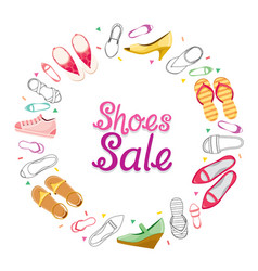 Womens shoes sale on circle frame vector
