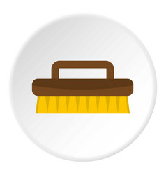 Wooden scrub brush icon circle vector