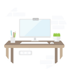 Workplace with computer in flat design place for vector