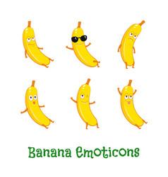 banana smiles cute cartoon emoticons emoji icons vector image