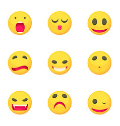 different emoticons icons set cartoon style vector image vector image