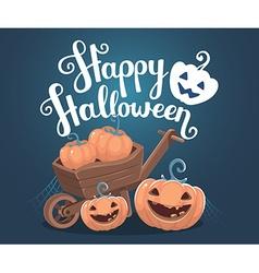 halloween of decorative orange pumpkins with vector image vector image