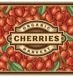 Retro Cherry Harvest Label vector image vector image