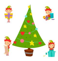 santa claus kids cartoon elf helpers vector image