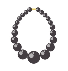 Black pearl necklace bead vector image