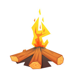 Burning bonfire colorful vector