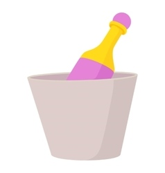 Champagne in bucket icon cartoon style vector image
