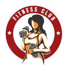 fitness club color emblem vector image vector image