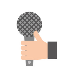 hand holding microphone music song broadcasting vector image vector image