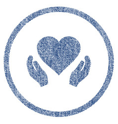 love care hands rounded fabric textured icon vector image vector image