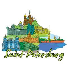 saint petersburg doodles vector image