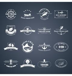 Set of seafood logos vector image vector image