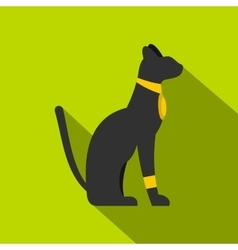 Black sitting Egyptian cat icon flat style vector image