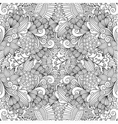 linear swirls and leaves doodle pattern vector image vector image