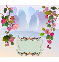 Sakura landscape east vector image vector image