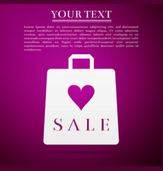 shopping bag shop love like heart icon with sale vector image