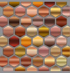 bronze roze gold gradients set in hexagons big vector image