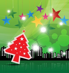 christmas festival background in the city vector image