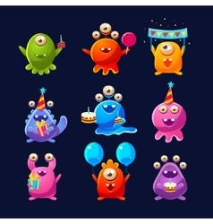 Fantastic Aliens With Birthday Party Objects vector image vector image