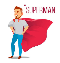 superhero businessman character red cape vector image vector image