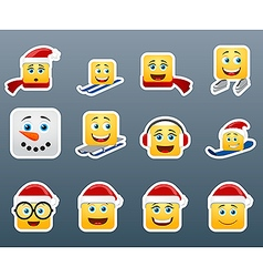 Winter smile stickers set vector image