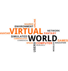 word cloud - virtual world vector image vector image