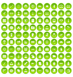 100 war icons set green vector