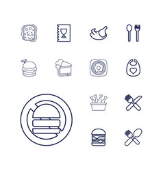 13 meal icons vector