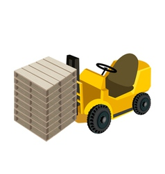 A Forklift Truck Loading Stack of Wood Pallets vector image