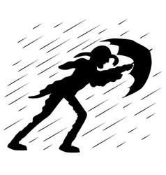 A man with an umbrella vector