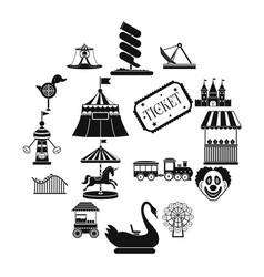 Amusement park black simple icons set vector