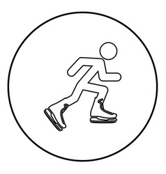 athlete skater in skating icon black color simple vector image