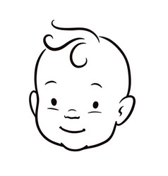 Baby face black and white simple line cartoon vector