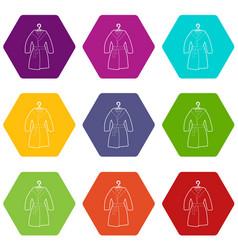 bathrobe icons set 9 vector image