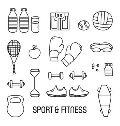black and white sport and fitness doodle set vector image