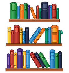 Bookshelf with colorful books vector