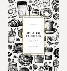Breakfast vintage flyer design morning food and vector