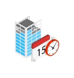 Building under construction calendar clock icon vector image