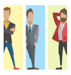 Business people man cards full length professional vector