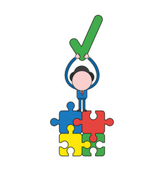 Businessman character standing on four connected vector