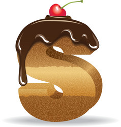 Cake letter S- birthday font vector image