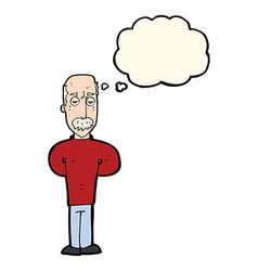 Cartoon annoyed balding man with thought bubble vector