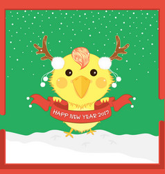 Cartoon christmas chicken antler happy new year vector