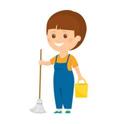 cartoon cleaner with bucket vector image