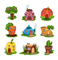 Cartoon set of fairy-tale houses in various shapes vector